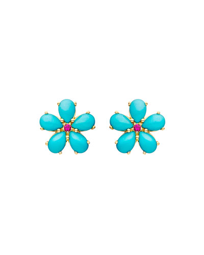 18k Turquoise Ruby Flower Statement Earrings