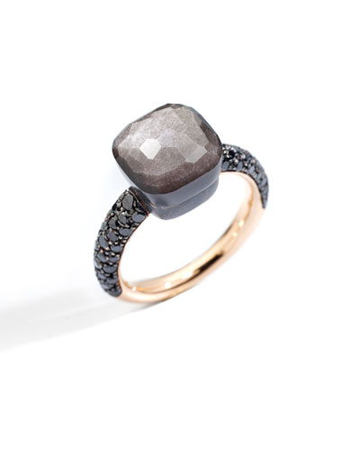 NUDO 18k Rose Gold/Titanium Obsidian & Black Diamond Ring