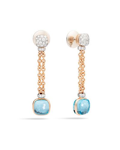 Nudo 18K Sky Blue Topaz & Diamond Drop Earrings
