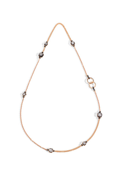 NUDO 18k Rose Gold Long Obsidian & Black Diamond Necklace, 35