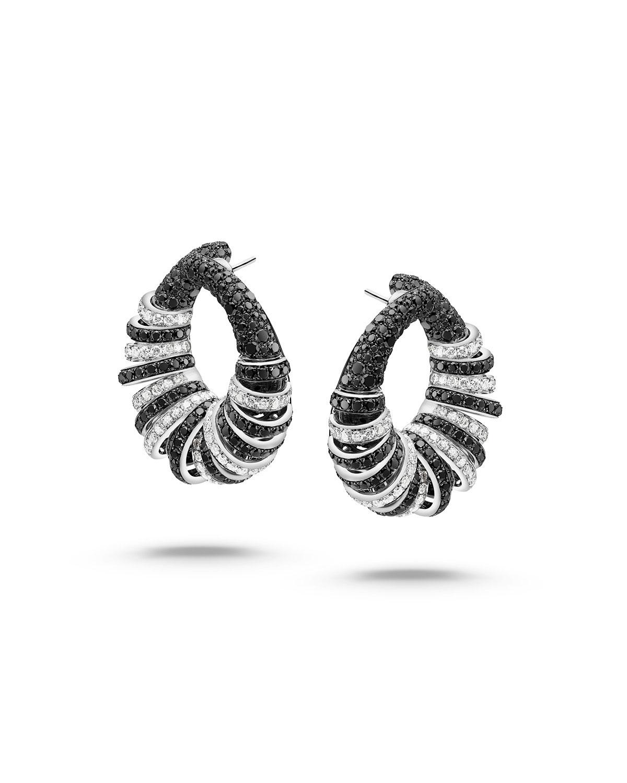 db58ec3ee5ae6 Allegra 18K White Gold Black & White Diamond Hoop Earrings