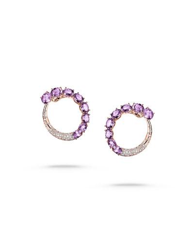 Doppia 18k Rose Gold Earrings w/ Amethyst & Diamonds
