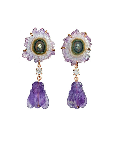 18k Bespoke 2-Tier Tribal Luxury Earrings w/ Stalactite, Hand-Carved Amethyst Bee & Diamonds