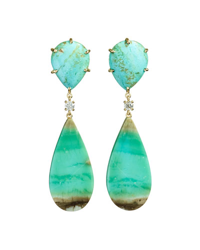 18k Bespoke 2-Tier Tribal Luxury Earrings w/ Turquoise, Blue Opal Petrified Wood & Diamonds