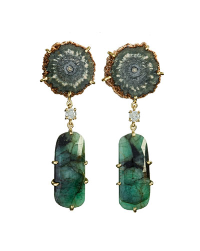 18k Bespoke 2-Tier Tribal Luxury Earrings w/ Brown Stalactite, Faceted Emerald & Diamond