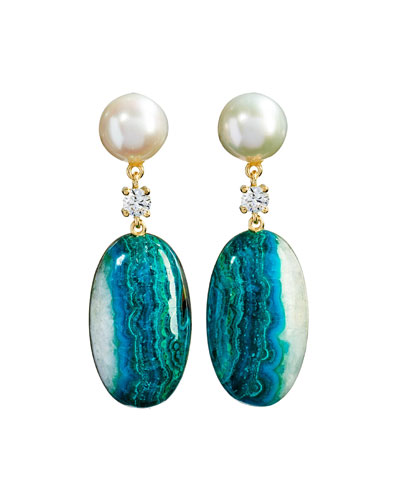 18k Bespoke 2-Tier Tribal Luxury Earrings w/ Pearl, Chrysocolla Quartz Malachite & Diamonds