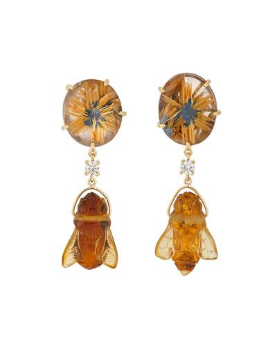 18k Bespoke 2-Tier Tribal Luxury Earrings w/ Quartz, Hand-Carved Amber Bee & Diamonds