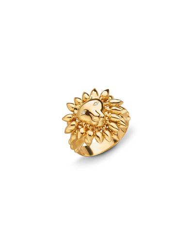 18k Yellow Gold Lion Ring, Size 8
