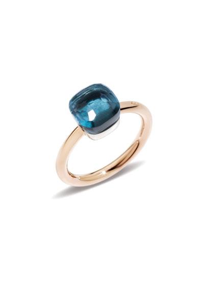 Nudo Mini Rose Gold & Blue Topaz Ring