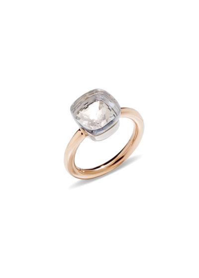 Nudo Medium Rose Gold & Colorless Topaz Ring, Size 56