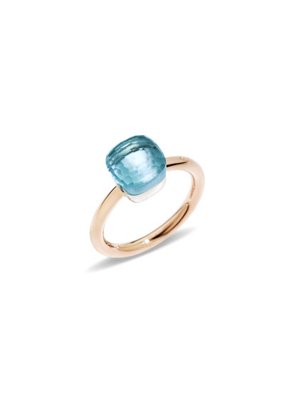 Nudo Rose Gold & Blue Topaz Mini Ring, Size 55