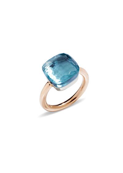 Nudo Grande Rose Gold & Blue Topaz Ring, Size 58