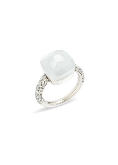 Nudo White Gold Ring with Moonstone & Diamonds