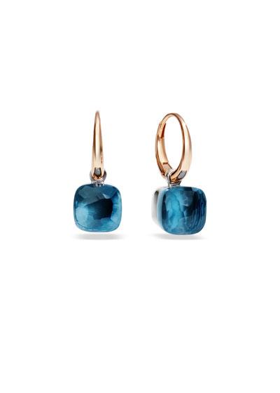 Nudo Small Rose Gold London Blue Topaz Drop Earrings