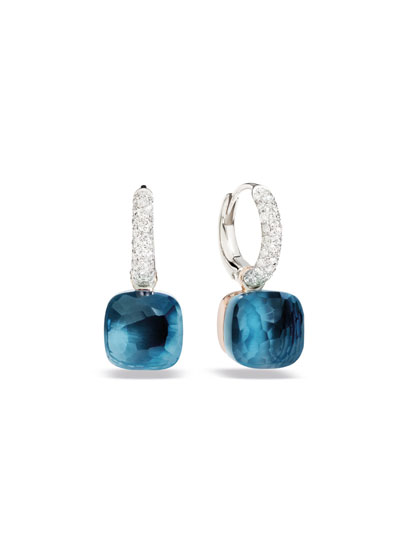 Nudo 18k White/Rose Gold Drop Earrings with Blue Topaz & Diamonds