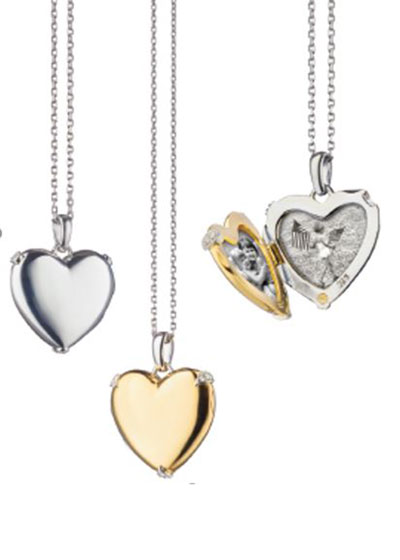 18K Yellow Gold & Sterling Silver Heart Locket Necklace w/ Diamond Accents