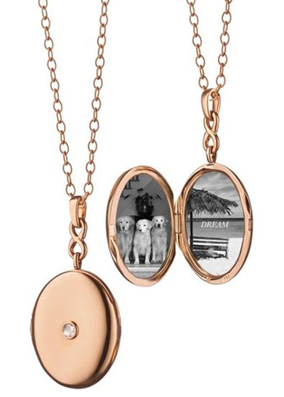 18K Rose Gold Locket Necklace with Diamond Center