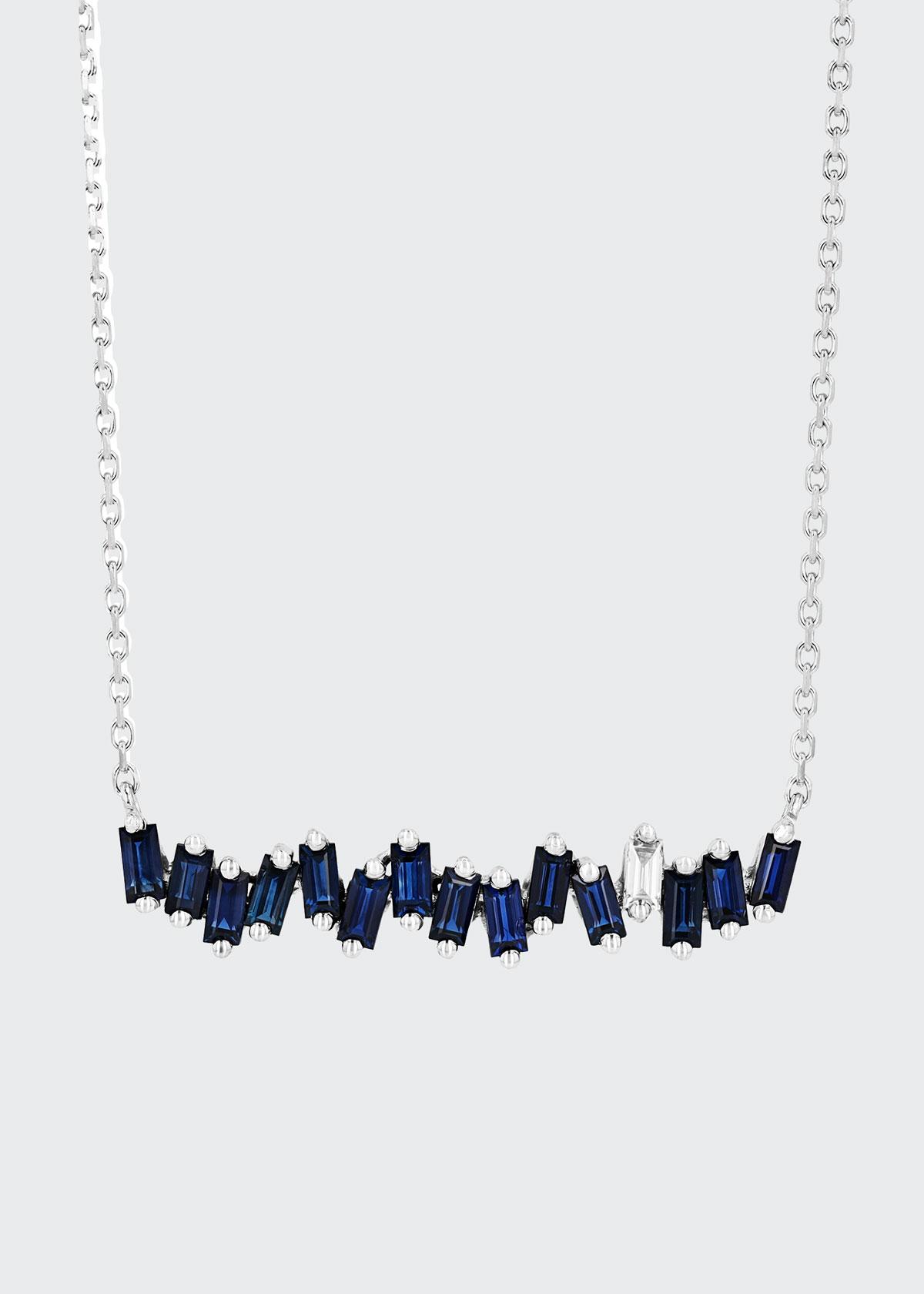 Suzanne Kalan 18K WHITE GOLD DARK BLUE SAPPHIRE AND DIAMOND BAR PENDANT NECKLACE