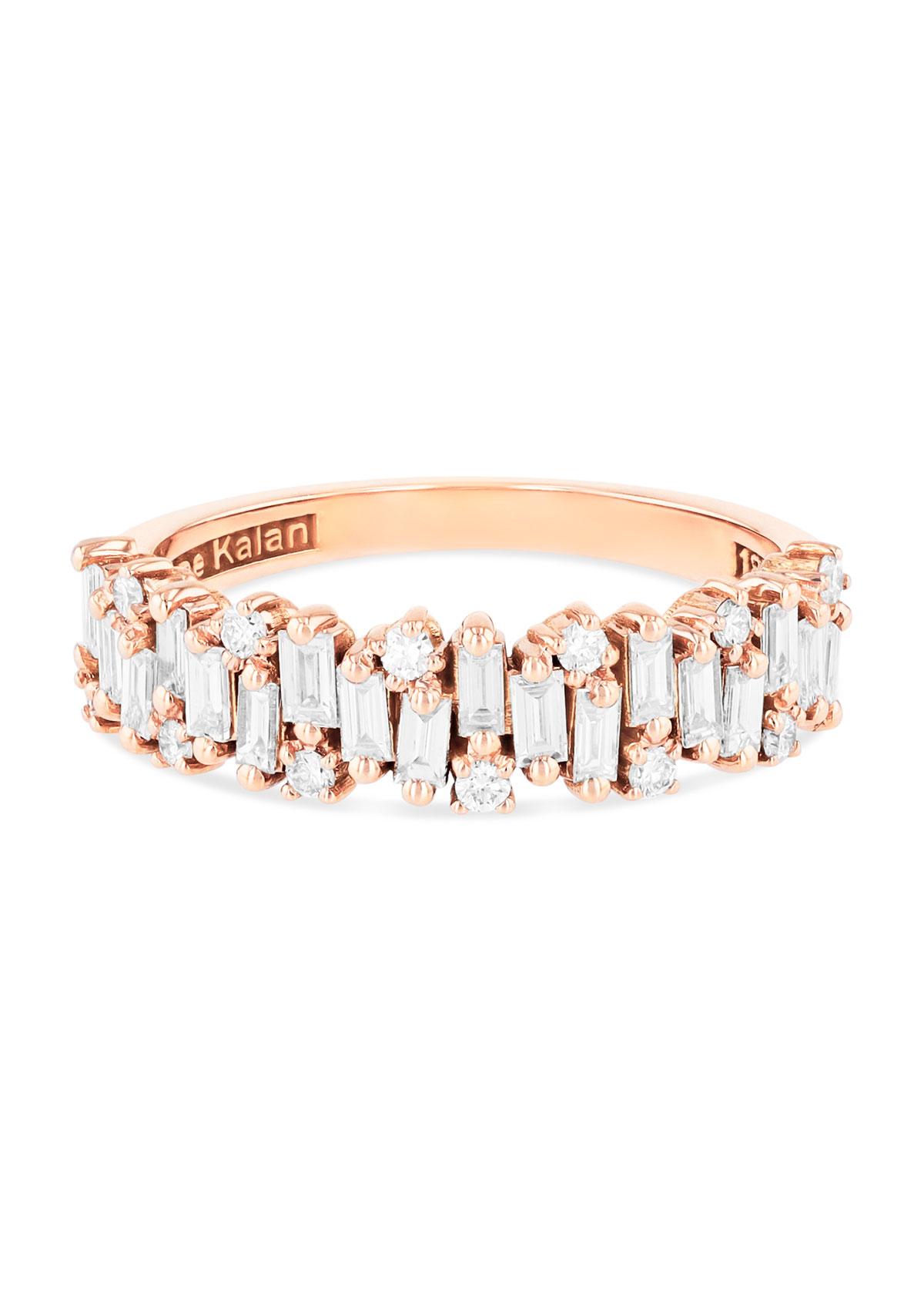 Suzanne Kalan 18K ROSE GOLD HALF-BAND DIAMOND RING