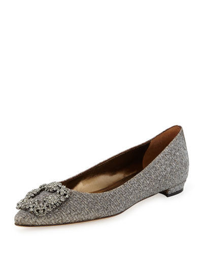Hangisi Crystal-Buckle Lamé Flat, Metallic Gray