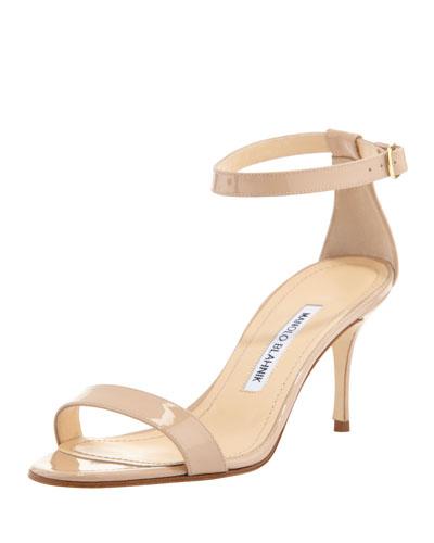 Chaos Patent Ankle-Strap Sandal, Beige