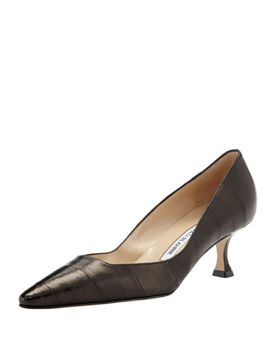 Twixpla Low-Heel Eelskin Pump, Black