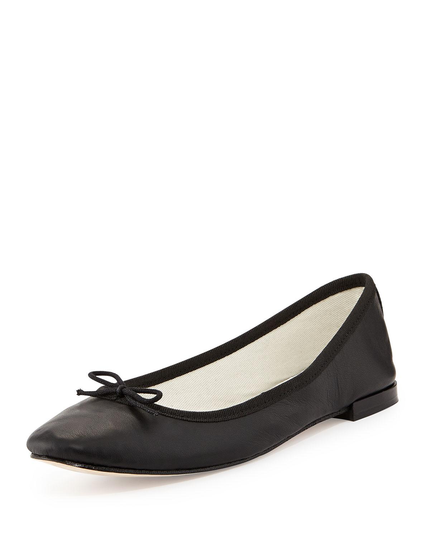 Leather Bow Ballerina Flat, Black