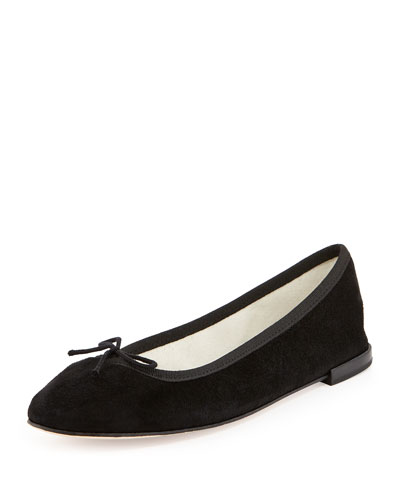 Suede Bow Ballerina Flat, Black