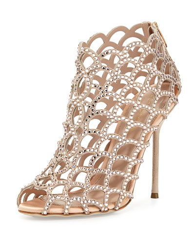 Scalloped Crystal Peep-Toe Sandal, Beige