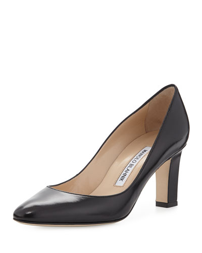 Lisaqua Leather Almond-Toe Pump, Navy