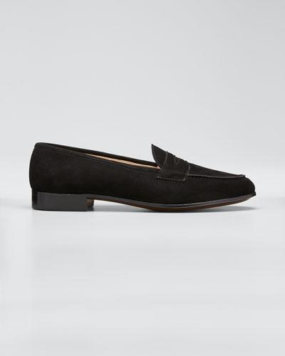 Suede Penny Keeper Loafer, Black