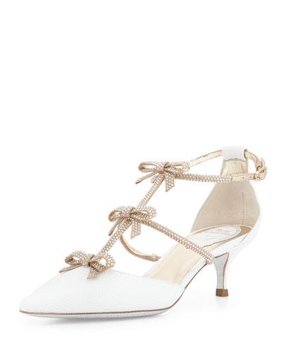Crystal Bow-Embellished Karung Low-Heel Pump, White/Gold