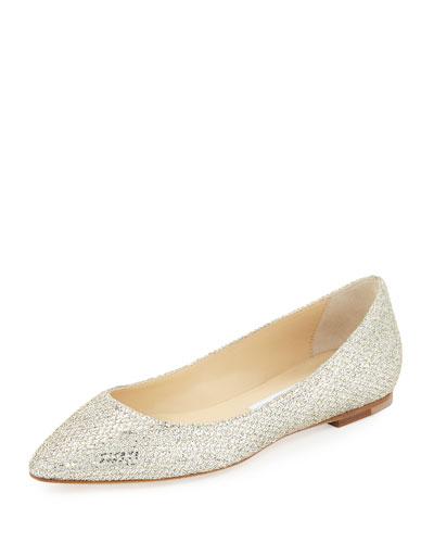 Goa Glitter Fabric Almond-Toe Flat
