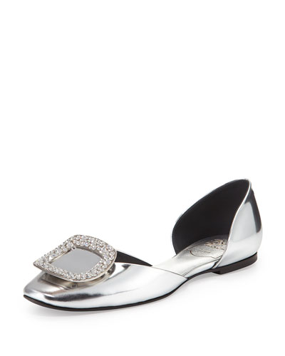 Ballerine Chips Crystal-Buckle Metallic Flat
