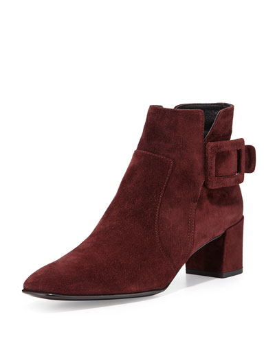Polly Suede Side-Buckle Ankle Boot, Burgundy