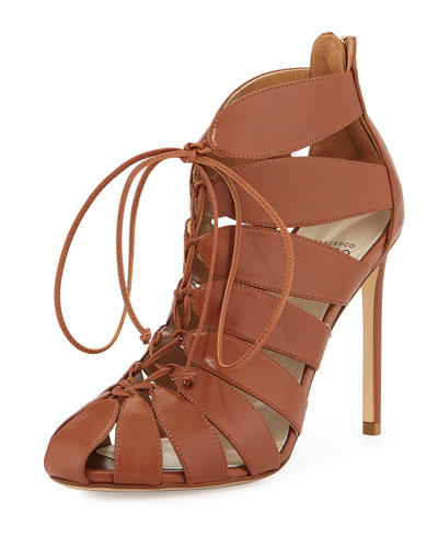 Lace-Up Leather Gladiator Bootie