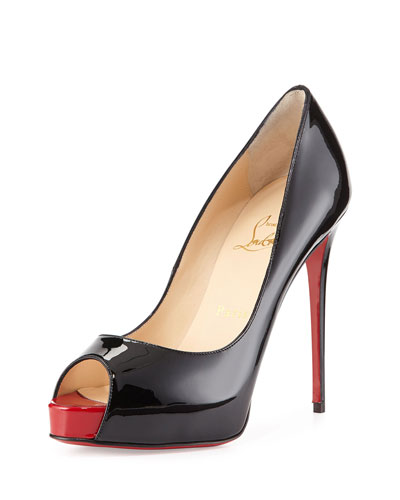 New Very Prive Patent Red Sole Pump, Black/Red