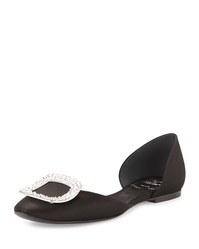 Chips Strass Crystal-Buckle d'orsay Flat, Black