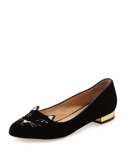 Kitty Velvet Cat-Embroidered Flat, Black/Gold