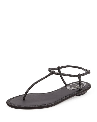 Crystal Flat Thong Sandal, Black