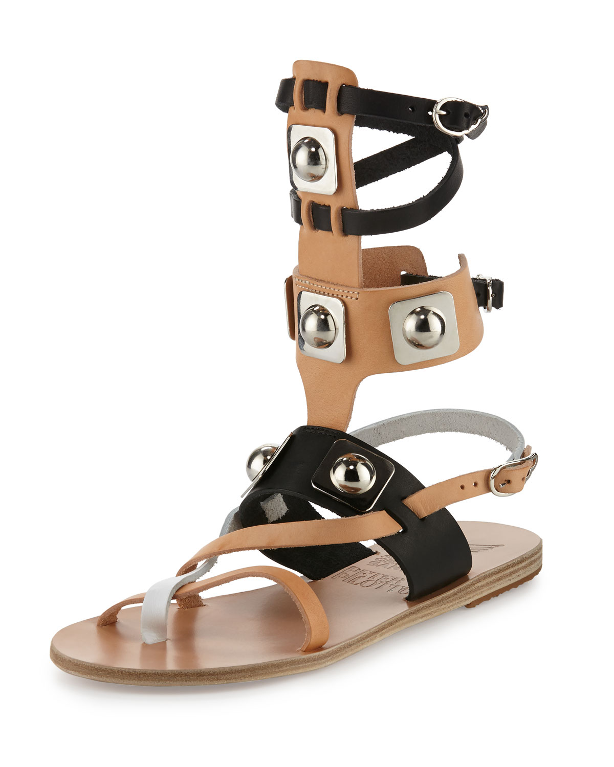 Low Multicolor Leather Gladiator Sandal, Multi/White/Natural/Black