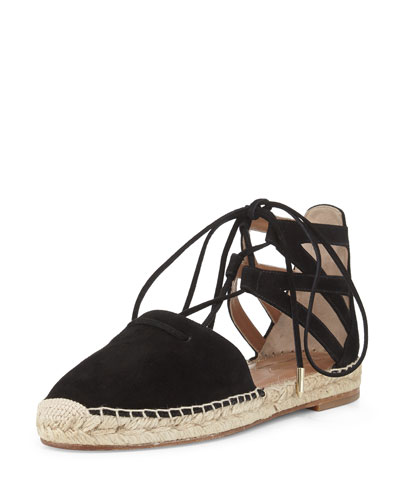 Belgravia Suede Closed-Toe Espadrille Sandal, Black