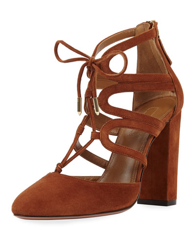 Holli Suede Curvy-Caged Pumps, Cognac