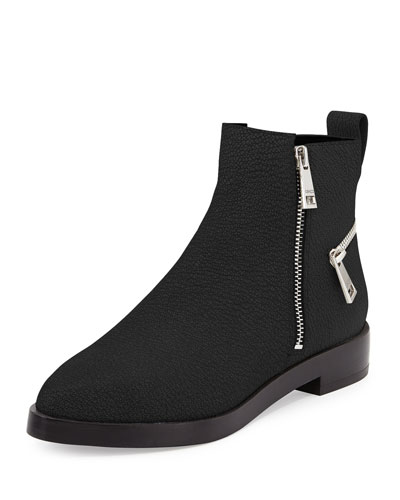 Pebbled Leather Ankle Zip Boot, Black