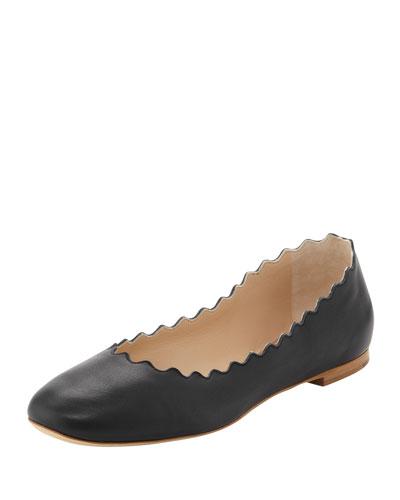 Scalloped Leather Ballerina Flat, Black