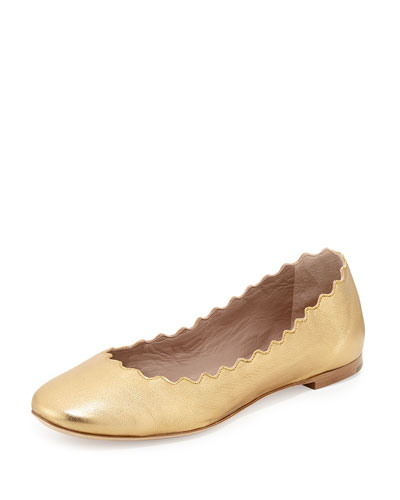 Scalloped Metallic Leather Ballerina Flat, Gold