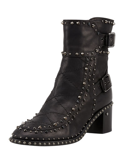 Badely Studded Double-Buckle Ankle Boot