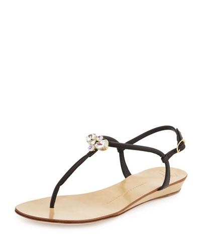 Jeweled Leather Demi-Wedge Sandal, Black