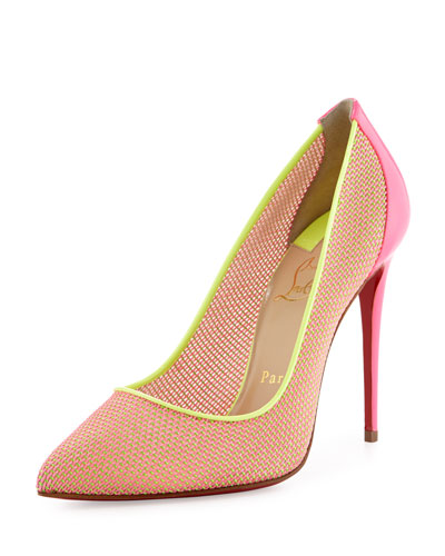 Follies Woven Neon Red Sole Pump, Shocking