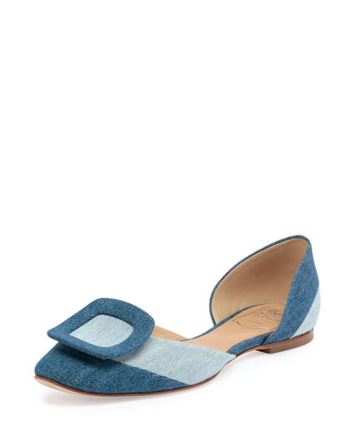 Ballerine Chips Denim d'Orsay Flat, Air/Baltic